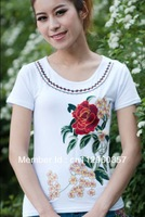 2013 summer new products. National retro show body embroidery T-shirt