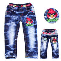 Free shipping!Wholesale 5pcs/lot chidren jeans(95cm--130cm) cartoon printing long pant for girls and boys.