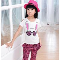 2013 female child summer set rabbit leopard print short-sleeve harem pants child female child set