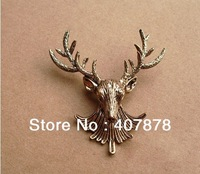 Wholesale OR retail- Retro Metal Bronze Hunting Animal Deer Elk Head Brooch Pin P-0071