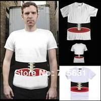 2014 fashion men's t-shirt trend of the body stereo skull hip-hop hiphop men short-sleeve white T-shirt M L XL