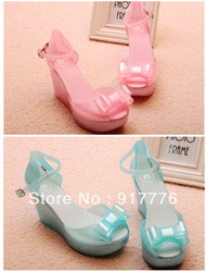Free Shipping Lovely Jelly Melissa Ankle Strape Mary Jane Wedge High Heel Pump Shoes Light Pink Light Blue(China (Mainland))