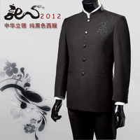 Stand collar male suits slim chinese tunic suit vintage embroidery chinese dragon suit
