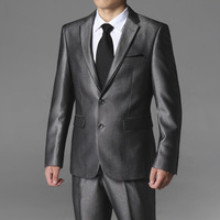 Spring male suits button grey casual slim business suit