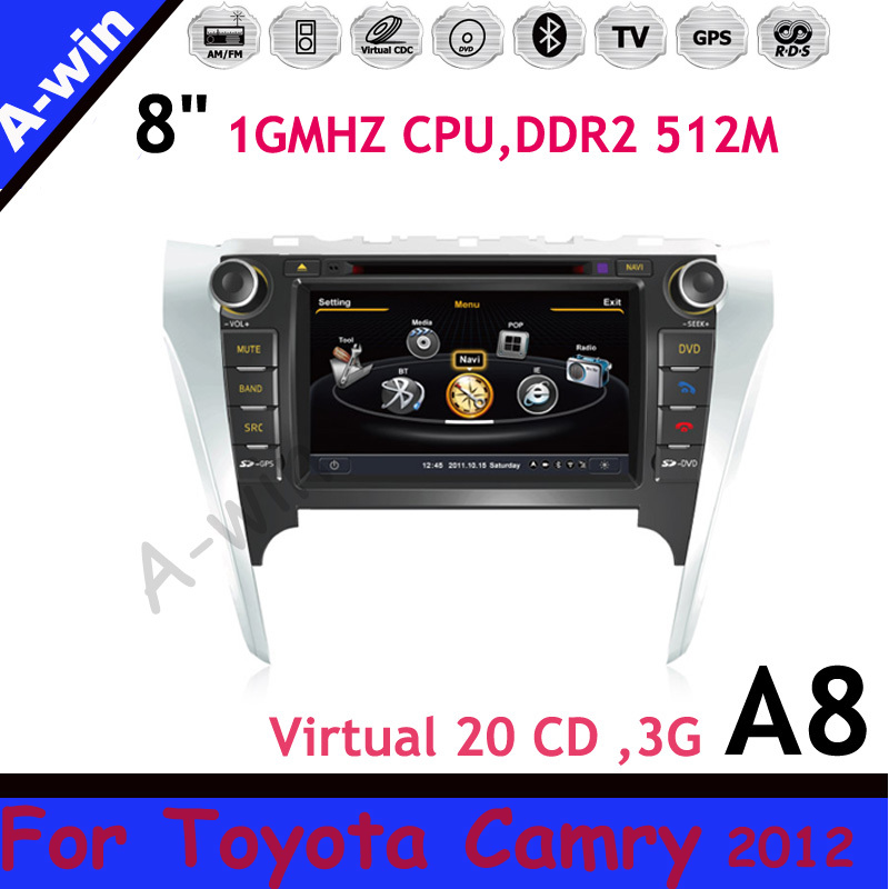 Car radio unit device For Toyota Camry 2012 3G 7&#39;&#39; Car DVD GPS with Radio Tape Recorder 1GMHZ CPU DDR 512M Virtual 20CDC(China (Mainland))