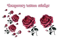 red big roses for hands arm Good quality Temporary tattoos Waterproof tattoo stickers body art Painting wholesale