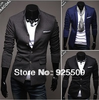 2012 Free Shipping Spring and Autumn suits for men blazers coat Hot senior Roman fabric collar men's fashion casual suit jacket