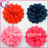 low price for wholesale 40 piece/lot hot sale fashion boutique eyelet hair flower high quality handmade hair clipsCNHBW-13051706