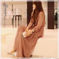 2014 fashion Autumn elegant ladies vintage jumpsuit full dress Women  Boho Pleated  Chiffon Maxi long dress Hot Sell