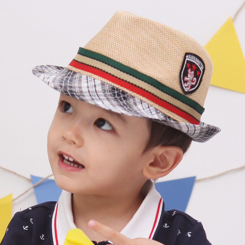 Free shipping little gentleman fashion labeling summer topi straw braid sun cap jazz bucket beach hat birthday gift 1 pc a lot(China (Mainland))