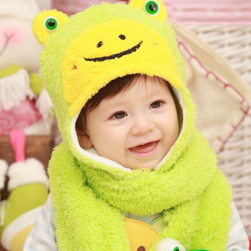Free shipping Christmas day winter lovely cartoon frog shape sweet infant earmuffs hat baby warm cap birthday gift 1 pc a lot(China (Mainland))