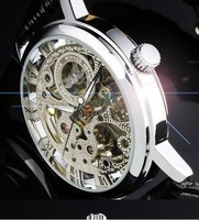 2013 new fashion Hot Sale Silver Skeleton Mechanical Watch  Skeleton Analog Display Watch Casual Mens & Womens Mechanical Watch
