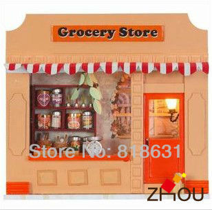 Valuable Gift DIY Wooden Doll House, European Miniature Shop, Kids Assembling Model Building Kits, Toy Bricks - Grocery Store