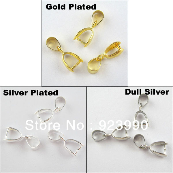 Free Shipping 25Pcs Copper Material Necklace Pinch Bail Pendant Clasp Connector Silver etc.7x18mm For Jewelry Making Craft DIY(China (Mainland))