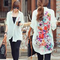 Fashion Western Retro Casual Loose Long Sleeve Chiffon Blouse Shirt Top Women's #L034912