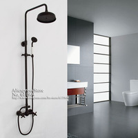 Oil Rubbed Bronze Wall Mounted Dual Handles Rain Fall Shower Faucet Set Mixer Tap