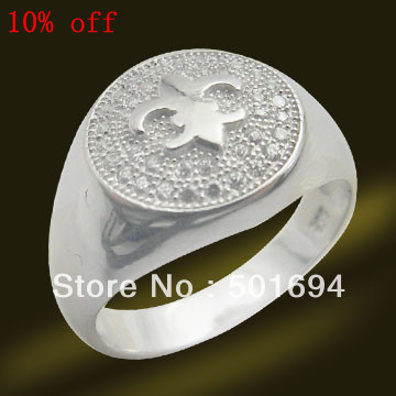 Fashion Wholesale Free shippng Jewelry Ring Supplier of 925 Silver Cz Ring micro setting rings Rhodium Plated RSW3636(China (Mainland))