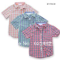 Free shipping 2013 new fashion high quality 100% cottonplaid short-sleeve turn down collar kid's/boy's shirt  150