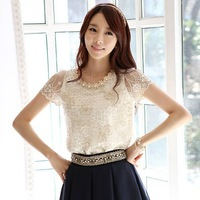 Free Shipping S/M/L/XL/XXL Fashion Elegant Beading Lace Embroidered The Formal Tops And Blouses With Flowers Are Female Hot Sale