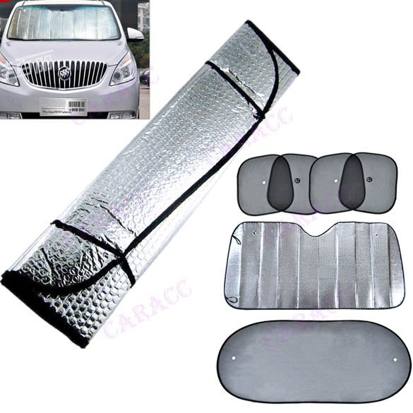 Double sided Car Front Windshield Windscreen Aluminum Foil Visor Sunshades / Cover Set Kit(China (Mainland))