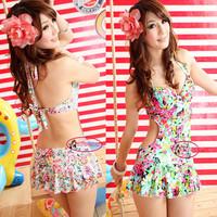 Vintage Floral Open Back Monokini Swim Dress Swimsuit Bathing Suit SW236