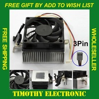 FREE SHIPPING BLACK 3PIN 12V CPU COOL COOLING HEATSINK PC COOLER FAN SUPPORT AMD 1PC