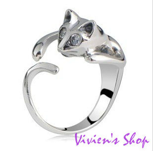 Free shipping Hot Sale Adjustable Lovely Cat Ring Animal Fashion Finger Ring R008(China (Mainland))