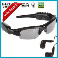 5 pcs/lot ! 1280x720  MP3 Bluetooth Sunglasses DVR with HD Hidden Camera and Retail Box