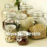 60%OFF 2013 new hot Lead-free canisters glass food storage jar 500ml, 1000ml, 1500ml, 2000ml,3000ml, 4000ml JR17  1pc