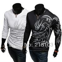 New Arrival Men's long sleeve T-shirt cotton o-neck T-shirt fashion dragon tattoo design T-shirt M-XXL