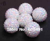 100 pcs / lot White AB 22mm resin rhinestones ball beads for chunky necklace free shipping
