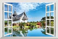window  scenery Famous building  window sticker 105*70cm  sofa background pvc  art sticker jz10