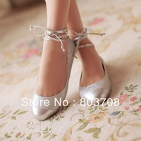 Retail 2013 newest women ballet shoes,sequined cloth flat wedding sandals,lady silver shoes