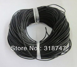 Free shipping Wholesale 2mm Jewelry DIY cord 100M/lot Black cow Round Genuine Leather Cord, Necklace & Bracelet Cord 008004 (2)(China (Mainland))