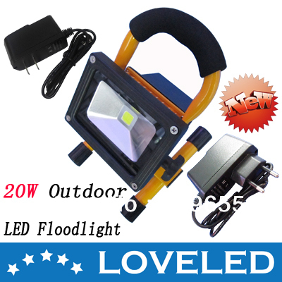 New Arrival!Portable Rechargeable Outdoor Emergency LED Flood Light 20W IP65 2 Chargers Free Shipping+8pcs/lot(China (Mainland))