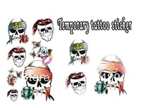 wholesale retail drop shipping cartoon skull heads Good quality Temporary tattoos Waterproof tattoo stickers body art Painting