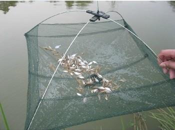 Durable Nylon Eels Shrimp Crab Trap Cast Steel Wire Frame Umbrella Fishing Net