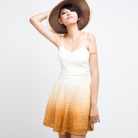 Gradient  color young girl  lace one-piece dress Women's chiffon dress freeshippingD13528