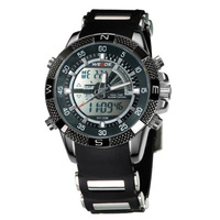 Elegant Black WEIDE Men Multifunction Quartz Analog & Digital Sports Watch 30m Water Resistant Free Shipping