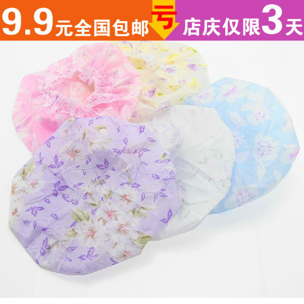 Free shipping! C244 lace decoration print waterproof shower cap hot oil cap dry hair hat shower cap shampoo cap(China (Mainland))