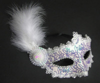 5pcs/lot Free shipping wholesale masquerade masks venetian halloween feather side flower mask