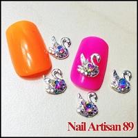 Colored Diamond Swan 3D Alloy Nail Art Cellphone Decoration Fancy Design 20pcs/lot Size:8*10mm #B412