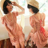 2013 summer women's short-sleeve summer beach dress chiffon one-piece dress princess dress