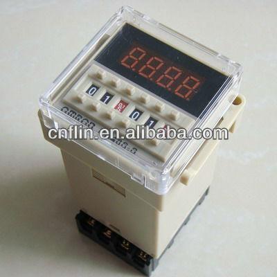 1X Free Shipping DC24V Time Delay Relay Counter DH48S-S with base socket(China (Mainland))