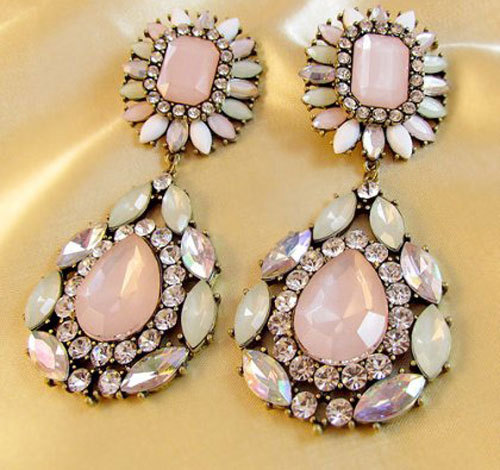 Free shipping ~ 2013 fashion earrings with cherry tree flower powder gem earrings Acrylic Drop earrings(China (Mainland))