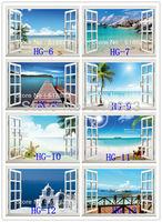Arbitrary 10pc  HD Pattern Landscape window sticker 105*70cm sofa background bedroom pvc art mural home decor wall  sticker