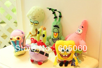 (6 pcs=1 set) Sponge Bob / big star / crab boss boss / snail / Skin / Octopus brother plush toy for children birthday gift