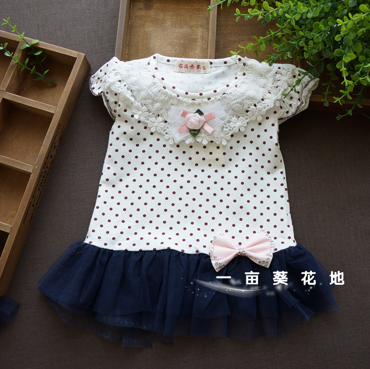 Female child tulle dress child short skirt dot one-piece dress baby skirt child(China (Mainland))