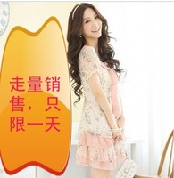 2013 spring and summer lotus leaf juniors clothing bow print cake dress chiffon one-piece dress