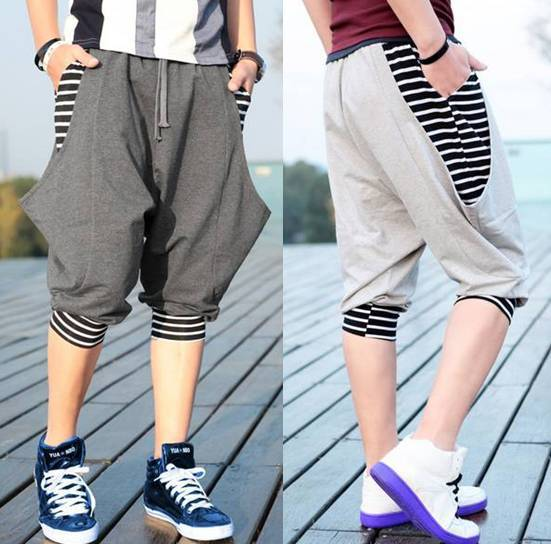 2013 Stripe Patchwork Loose Pants Men's Fashion Harem Pants Hip-Hop Street Wear(China (Mainland))